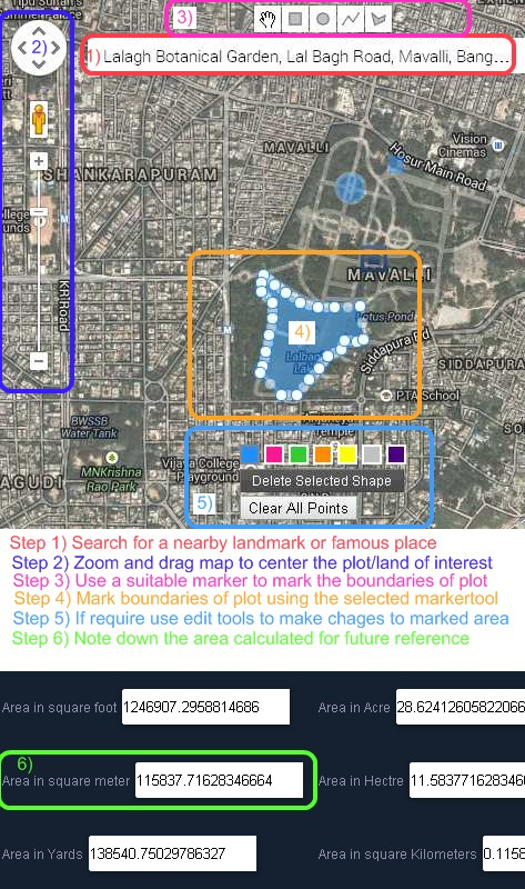Getzy India Free Online Gmaps Area calculator usage steps