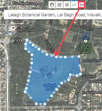 lalbagh lake marked with polygon marker tool