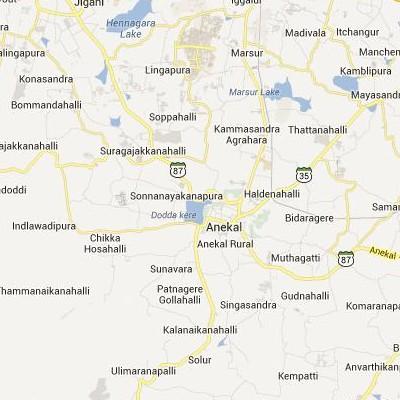 satellite map image of Anekal( Anekal,Karnataka ಉಪಗ್ರಹ ನಕ್ಷೆ ಚಿತ್ರ )