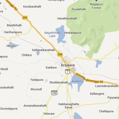 satellite map image of Arsikere( Arsikere,Karnataka ಉಪಗ್ರಹ ನಕ್ಷೆ ಚಿತ್ರ )