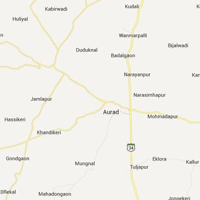 satellite map image of Aurad( Aurad,Karnataka ಉಪಗ್ರಹ ನಕ್ಷೆ ಚಿತ್ರ )