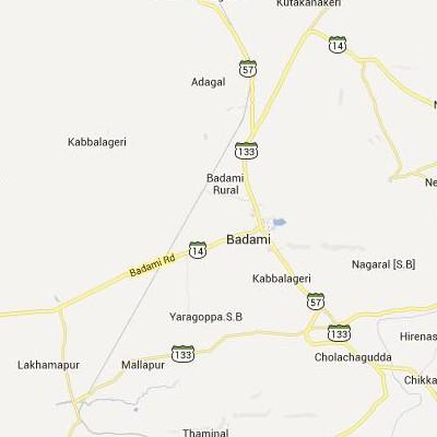 satellite map image of Badami( Badami,Karnataka ಉಪಗ್ರಹ ನಕ್ಷೆ ಚಿತ್ರ )