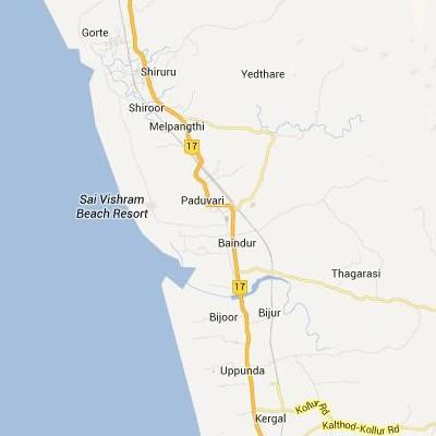 satellite map image of Baindur( Baindur,Karnataka ಉಪಗ್ರಹ ನಕ್ಷೆ ಚಿತ್ರ )