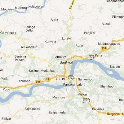satellite map image of Bantval( Bantval,Karnataka ಉಪಗ್ರಹ ನಕ್ಷೆ ಚಿತ್ರ )