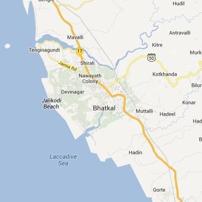 satellite map image of Bhatkal( Bhatkal,Karnataka ಉಪಗ್ರಹ ನಕ್ಷೆ ಚಿತ್ರ )
