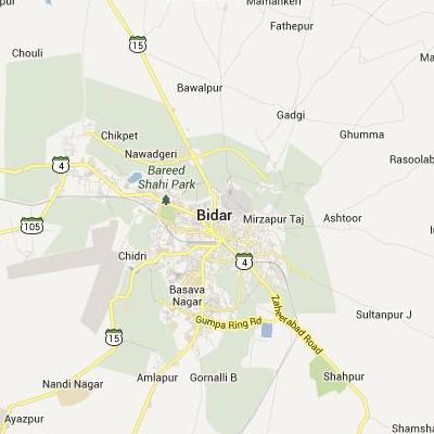 satellite map image of Bidar( Bidar,Karnataka ಉಪಗ್ರಹ ನಕ್ಷೆ ಚಿತ್ರ )