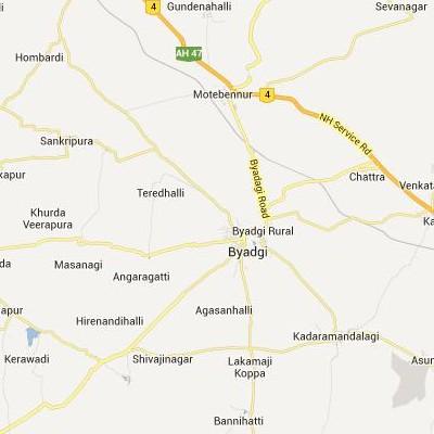 satellite map image of Byadgi( Byadgi,Karnataka ಉಪಗ್ರಹ ನಕ್ಷೆ ಚಿತ್ರ )