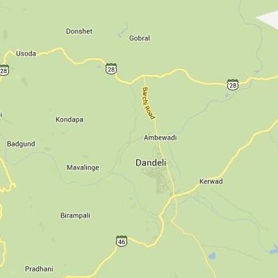satellite map image of Dandeli( Dandeli,Karnataka ಉಪಗ್ರಹ ನಕ್ಷೆ ಚಿತ್ರ )