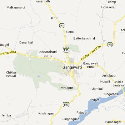 satellite map image of Gangawati( Gangawati,Karnataka ಉಪಗ್ರಹ ನಕ್ಷೆ ಚಿತ್ರ )