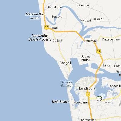 satellite map image of Gangolli( Gangolli,Karnataka ಉಪಗ್ರಹ ನಕ್ಷೆ ಚಿತ್ರ )
