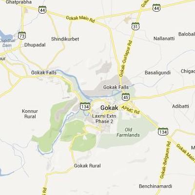 satellite map image of Gokak( Gokak,Karnataka ಉಪಗ್ರಹ ನಕ್ಷೆ ಚಿತ್ರ )