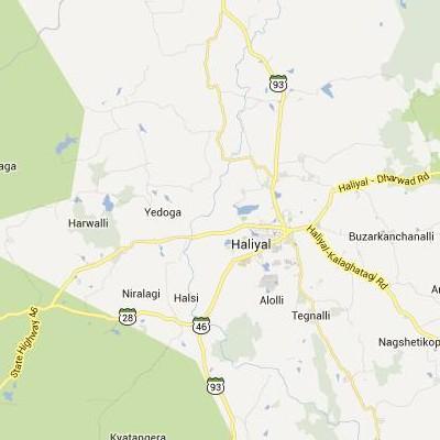 satellite map image of Haliyal( Haliyal,Karnataka ಉಪಗ್ರಹ ನಕ್ಷೆ ಚಿತ್ರ )