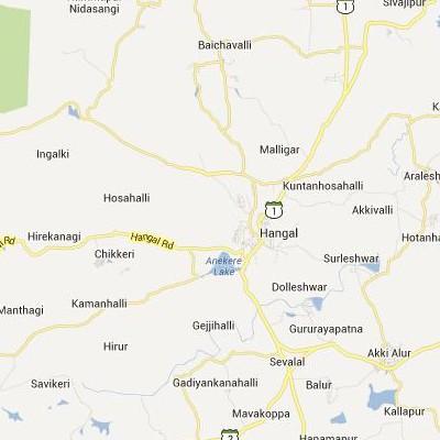 satellite map image of Hangal( Hangal,Karnataka ಉಪಗ್ರಹ ನಕ್ಷೆ ಚಿತ್ರ )
