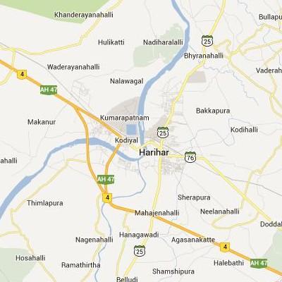 satellite map image of Harihar( Harihar,Karnataka ಉಪಗ್ರಹ ನಕ್ಷೆ ಚಿತ್ರ )