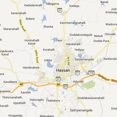 satellite map image of Hassan( Hassan,Karnataka ಉಪಗ್ರಹ ನಕ್ಷೆ ಚಿತ್ರ )
