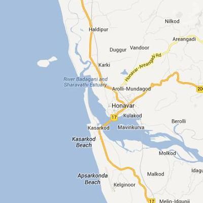 satellite map image of Honavar( Honavar,Karnataka ಉಪಗ್ರಹ ನಕ್ಷೆ ಚಿತ್ರ )