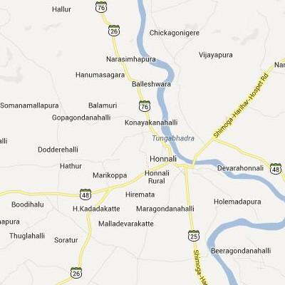 satellite map image of Honnali( Honnali,Karnataka ಉಪಗ್ರಹ ನಕ್ಷೆ ಚಿತ್ರ )