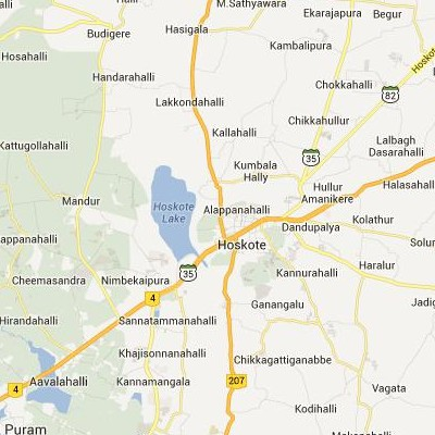 satellite map image of Hoskote( Hoskote,Karnataka ಉಪಗ್ರಹ ನಕ್ಷೆ ಚಿತ್ರ )