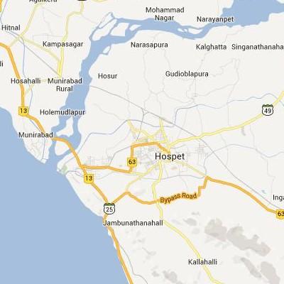 satellite map image of Hospet( Hospet,Karnataka ಉಪಗ್ರಹ ನಕ್ಷೆ ಚಿತ್ರ )