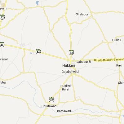 satellite map image of Hukeri( Hukeri,Karnataka ಉಪಗ್ರಹ ನಕ್ಷೆ ಚಿತ್ರ )