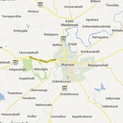 satellite map image of Hunsur( Hunsur,Karnataka ಉಪಗ್ರಹ ನಕ್ಷೆ ಚಿತ್ರ )