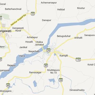 satellite map image of Kampli( Kampli,Karnataka ಉಪಗ್ರಹ ನಕ್ಷೆ ಚಿತ್ರ )