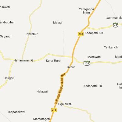 satellite map image of Kerur( Kerur,Karnataka ಉಪಗ್ರಹ ನಕ್ಷೆ ಚಿತ್ರ )