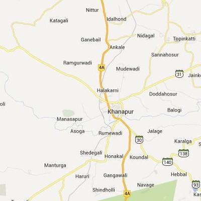 satellite map image of Khanapur( Khanapur,Karnataka ಉಪಗ್ರಹ ನಕ್ಷೆ ಚಿತ್ರ )