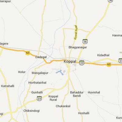 satellite map image of Koppal( Koppal,Karnataka ಉಪಗ್ರಹ ನಕ್ಷೆ ಚಿತ್ರ )