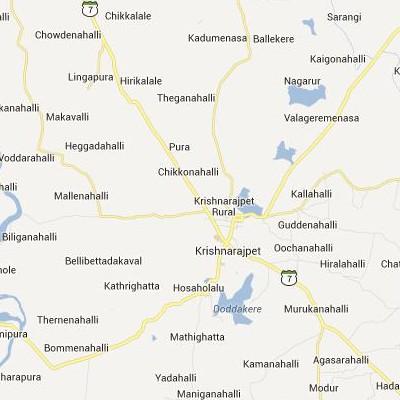 satellite map image of Krishnarajpet( Krishnarajpet,Karnataka ಉಪಗ್ರಹ ನಕ್ಷೆ ಚಿತ್ರ )