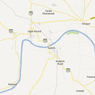 satellite map image of Kudachi( Kudachi,Karnataka ಉಪಗ್ರಹ ನಕ್ಷೆ ಚಿತ್ರ )