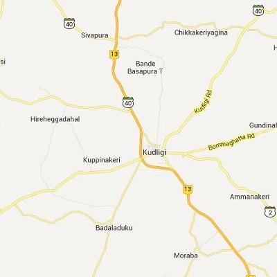 satellite map image of Kudligi( Kudligi,Karnataka ಉಪಗ್ರಹ ನಕ್ಷೆ ಚಿತ್ರ )