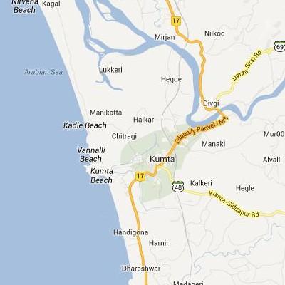 satellite map image of Kumta( Kumta,Karnataka ಉಪಗ್ರಹ ನಕ್ಷೆ ಚಿತ್ರ )