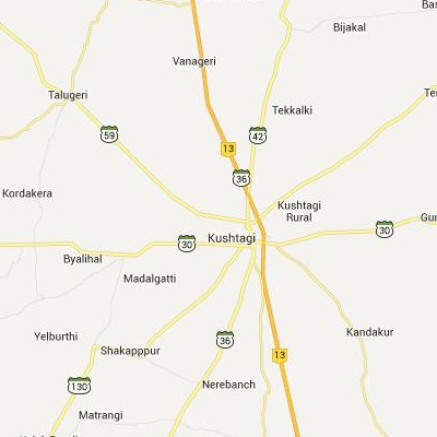 satellite map image of Kushtagi( Kushtagi,Karnataka ಉಪಗ್ರಹ ನಕ್ಷೆ ಚಿತ್ರ )