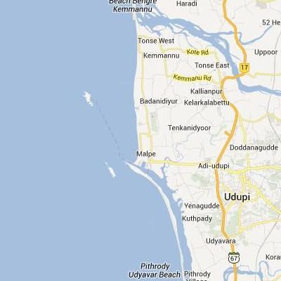 satellite map image of Malpe( Malpe,Karnataka ಉಪಗ್ರಹ ನಕ್ಷೆ ಚಿತ್ರ )