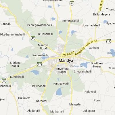 satellite map image of Mandya( Mandya,Karnataka ಉಪಗ್ರಹ ನಕ್ಷೆ ಚಿತ್ರ )