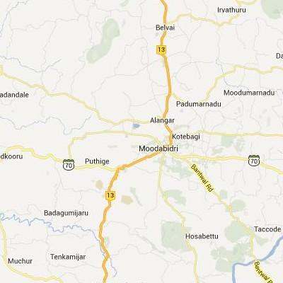 satellite map image of Mudbidri( Mudbidri,Karnataka ಉಪಗ್ರಹ ನಕ್ಷೆ ಚಿತ್ರ )