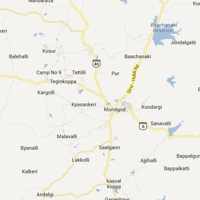satellite map image of Mundgod( Mundgod,Karnataka ಉಪಗ್ರಹ ನಕ್ಷೆ ಚಿತ್ರ )