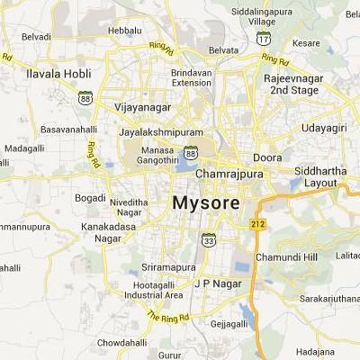 satellite map image of Mysore( Mysore,Karnataka ಉಪಗ್ರಹ ನಕ್ಷೆ ಚಿತ್ರ )