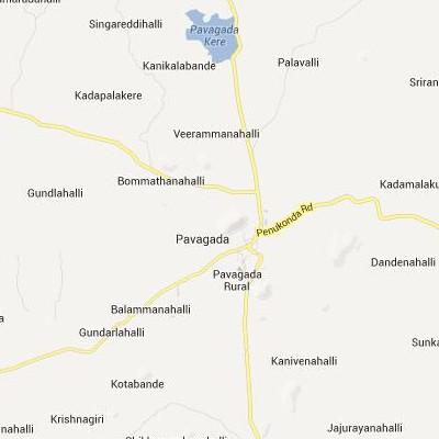 satellite map image of Pavagada( Pavagada,Karnataka ಉಪಗ್ರಹ ನಕ್ಷೆ ಚಿತ್ರ )