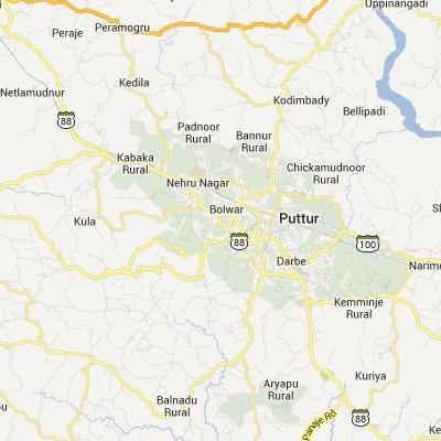 satellite map image of Puttur( Puttur,Karnataka ಉಪಗ್ರಹ ನಕ್ಷೆ ಚಿತ್ರ )
