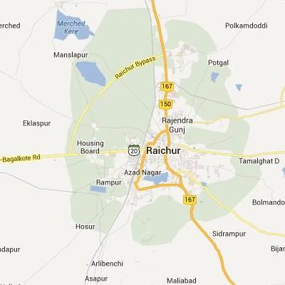 satellite map image of Raichur( Raichur,Karnataka ಉಪಗ್ರಹ ನಕ್ಷೆ ಚಿತ್ರ )