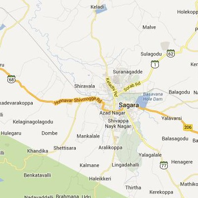 satellite map image of Sagar( Sagar,Karnataka ಉಪಗ್ರಹ ನಕ್ಷೆ ಚಿತ್ರ )