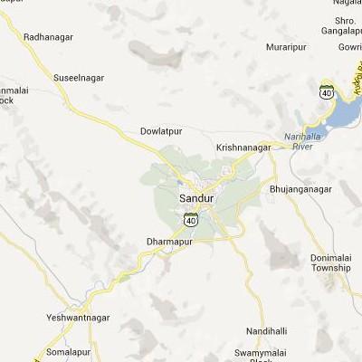 satellite map image of Sandur( Sandur,Karnataka ಉಪಗ್ರಹ ನಕ್ಷೆ ಚಿತ್ರ )