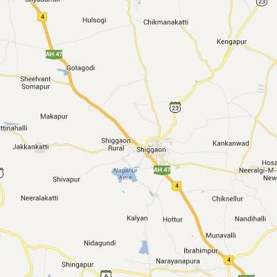 satellite map image of Shiggaon( Shiggaon,Karnataka ಉಪಗ್ರಹ ನಕ್ಷೆ ಚಿತ್ರ )