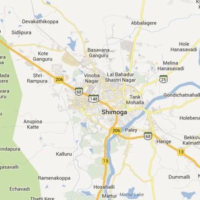 satellite map image of Shimoga( Shimoga,Karnataka ಉಪಗ್ರಹ ನಕ್ಷೆ ಚಿತ್ರ )