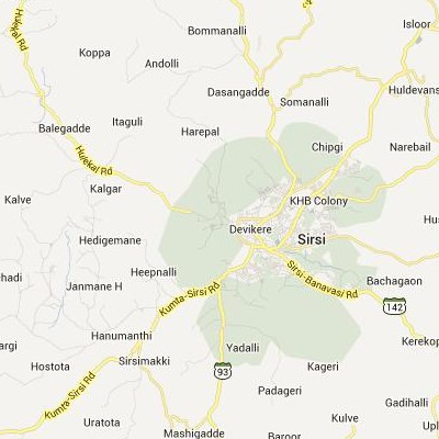 satellite map image of Sirsi( Sirsi,Karnataka ಉಪಗ್ರಹ ನಕ್ಷೆ ಚಿತ್ರ )