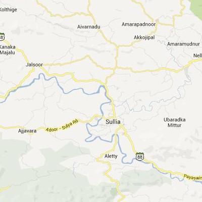 satellite map image of Sulya( Sulya,Karnataka ಉಪಗ್ರಹ ನಕ್ಷೆ ಚಿತ್ರ )