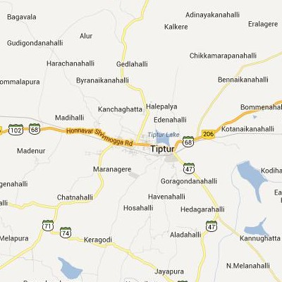 satellite map image of Tiptur( Tiptur,Karnataka ಉಪಗ್ರಹ ನಕ್ಷೆ ಚಿತ್ರ )