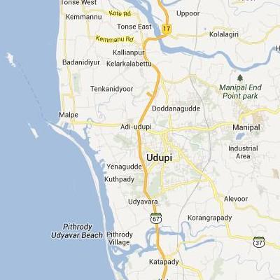 satellite map image of Udipi( Udipi,Karnataka ಉಪಗ್ರಹ ನಕ್ಷೆ ಚಿತ್ರ )
